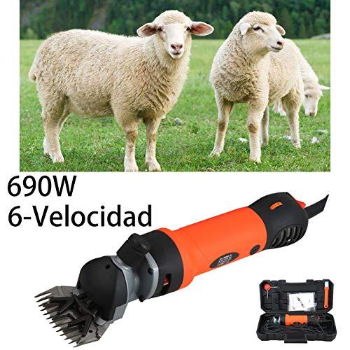 Vinteky 690W Un Set Completo para Esquiladora Eléctrica para Ovejas Fácil y Práctico para Trasquilar Alto Rendimiento, Dando Cuidado a los Animales, 6 Velocidades Ajustables (Naranja)