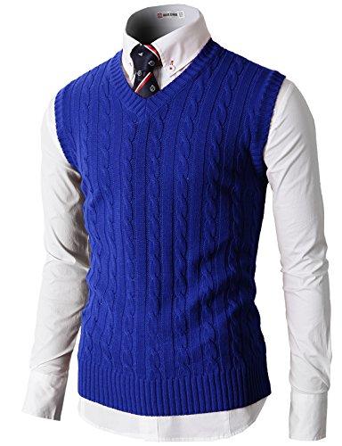 H2H Men's V-Neck Rhombus Knitwear Sweater Vest Waistcoat Blue US M/Asia L (KMOV037)
