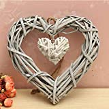 Danigrefinb - Adorno o regalo con forma de doble corazón de mimbre, para bodas, fiestas, decoración de pared para el hogar, etc., resina, Color aleatorio, talla única