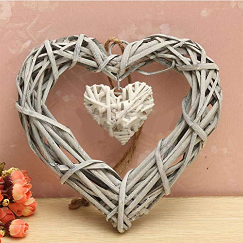 Brussels08 Double Heart Resin Wicker Heart Wreaths Wall Hanging Decoration Front Door Display Ornament for Valentine's Day, Wedding, Christmas Party, Thanksgiving Day Random