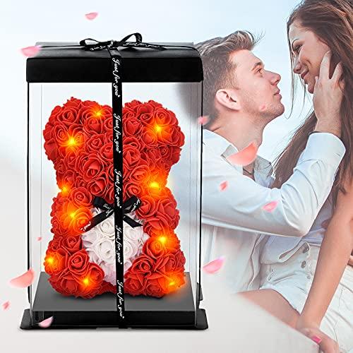 Ours en Rose, Zodight Décoration en Forme d'Ours en Fleurs Artificielles Faites à La Main avec des Guirlandes Lumineuses à LED, Rose Romantique Ours pour Un Anniversaire, Valentin, Un Anniversaire