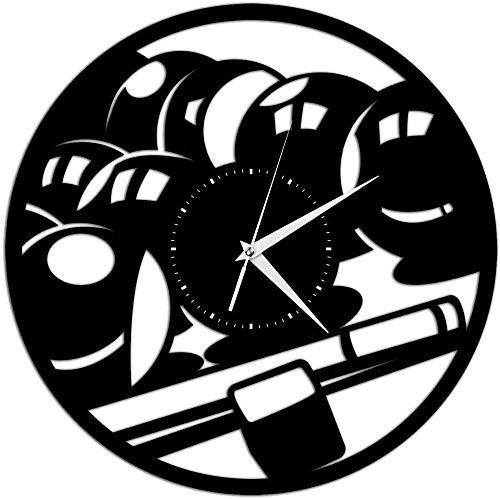 RIII Vinyl Schallplatte Wanduhr Billard Billardtisch Spiel Vinyl Wanduhr Geschenk für Sportbegeisterte Home Decoration 30 × 30Cm