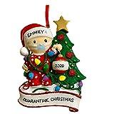 1 Stück DIY Weihnachten Haus Dekoration, Babys Tragen Mundschutz Baumschmuck Weihnachten 2020 Weihnachtsdekorationen Hängende Ornamente Christbaumschmuck Geschenk für Die Familie (Rot)
