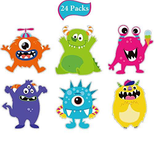 24 Stücke Monster Party Ausschnitte Kleine Bunte Monster Ausschnitte Party Dekorationen für Mädchen Jungen Geburtstag Baby Shower, Monster Party Begünstigt Geburtstag Zubehör