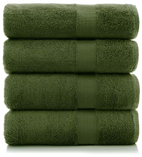 Premium Cotton Turkish Wide Lined Border Eco-Friendly and Long Stable Bath Towel (Moss, Set of 4)
