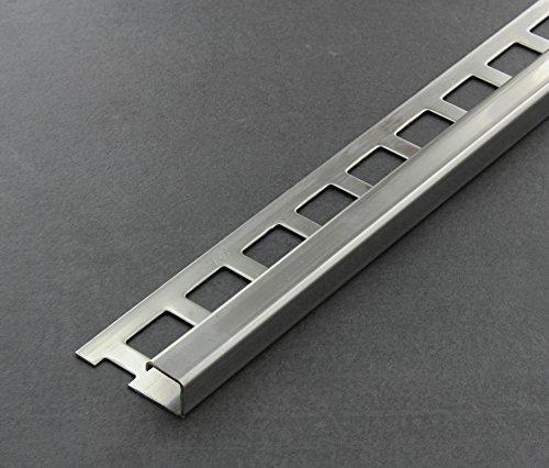 Fliesenschiene, Fliesenprofil, Quadratprofil, Edelstahl (V2A) glänzend, Länge 2,50 m 11 mm Höhe 5 Stück Setpreis