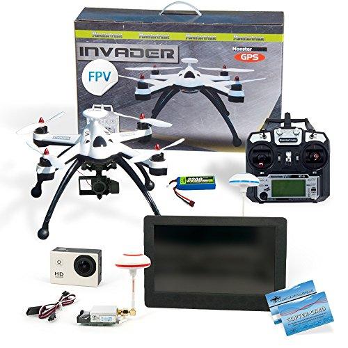 Invader X8 Quadrocopter Drohne V2 mit FPV Set Camera Gimbal Sender GPS