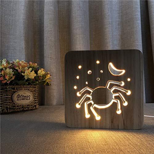 Solo 1 pieza de regalo de Halloween lámpara de madera con diseño de araña USB LED lámpara de mesa control de interruptor tallado en madera luz de noche