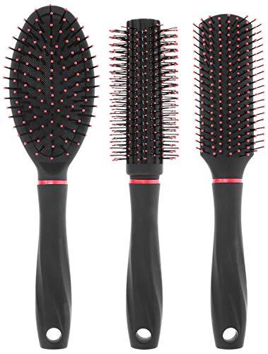 com-four® 3-teiliges Stylingset mit DREI tollen Haarbürsten mit Softgriff - Allzweckbürste, Rundbürste und Sassoon Bürste (3er Set Schwarz/Rot)
