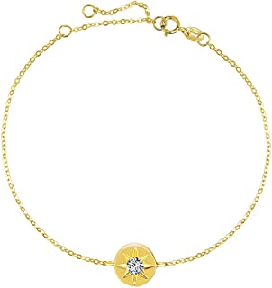 18K Solid Yellow Gold Round Circle 0.06Ct Diamond Star Compass Forever Love Friendship Dainty Delicate Bracelet For Women Girls, 6