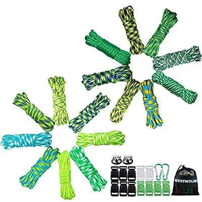 WEREWOLVES 550 Paracord Bracelet Kit - Survival Parachute Cord DIY Weaving Craft Tool Kit with Buckles, Key Rings, Carabiner, Whistle, Soft Tape Measure (LS - 160 FT)