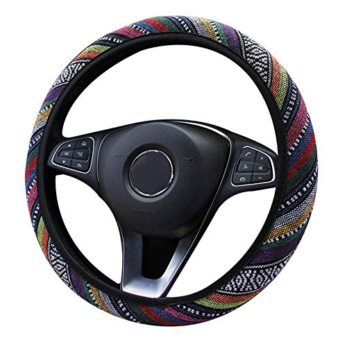 Boho Steering Wheel Cover,Maya Universal Steering Wheel Cover for Women,Coarse Flax Cloth,Anti-Slip Sweat-Absorbent