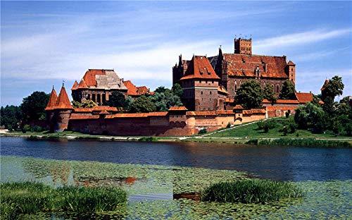 Yqgdss Rote Backstein Villa Am Fluss Puzzle Holz DIY 200 Stück Für Erwachsene Kinder Lernspielzeug Geschenk Kunst Dekompression