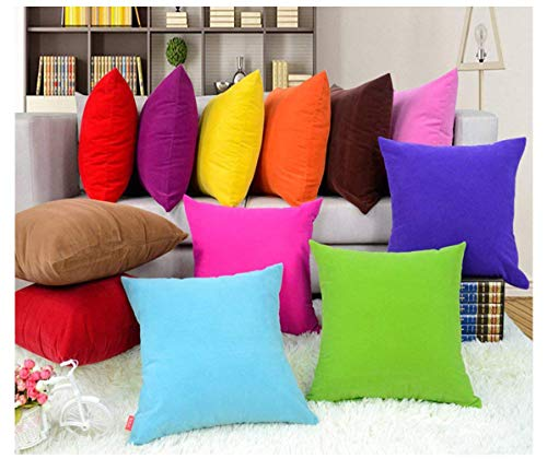 Coliang Throw Pillow Case, Colorful Multi-Color Optional Soft Plain Cushion Solid Pillow Sofa Cushion Office Cushion Pillow Cover 40x40CM(No Insert) - Light Blue