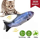 Easyme Catnip Fish Toys for Cats, 30 cm Realistic Plush Electric Wagging Fish Toys Chew Simulation Funny Interactive Toys for Indoor Cats Pets Kitten, Perfect for Biting, Chewing and Kicking (Salmon)