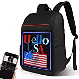 Welaso Smart Bluetooth LED Backpack 24L with Colorful LED Sign Panel and Programmable, DIY Fashion Waterproof Graffiti Ligh up School Travel 15.6 Laptop Daypack Bag,Large Black