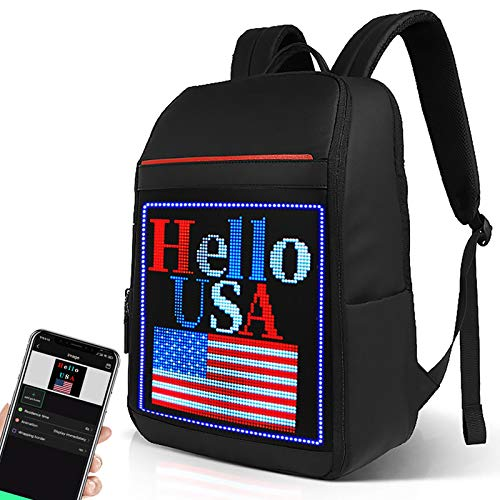 Welaso Smart WiFi LED Backpack 24L with Colorful LED Sign Panel and Programmable, DIY Fashion Waterproof Graffiti Ligh up School Travel 15.6 Laptop Daypack Bag,Large Black