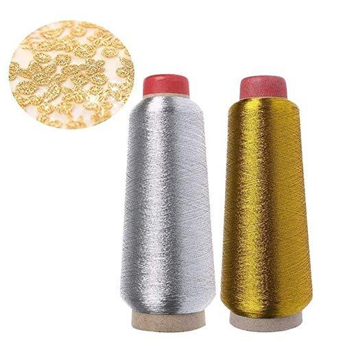 2 Rotoli di Filo Metallico, Set di Filo Metallico, per Ricamo Computerizzato e Cucito Decorativo, 3600M(Oro, Argento)
