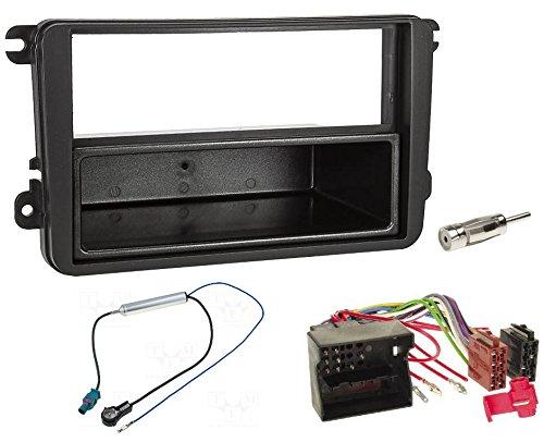 Audioproject A123 - Autoradio Einbau-Set Kompatibel für VW Golf V Touran Passat 3C Caddy Skoda Octavia Seat Radioblende Radioadapter 2 x Antennenadapter Fakra ISO DIN Fach