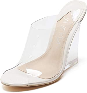 Mackin J 405-1 Women's PVC Lucite Clear Wedge Heel Open Toe Slip On Mule Sandals Nude (10, Transparent)