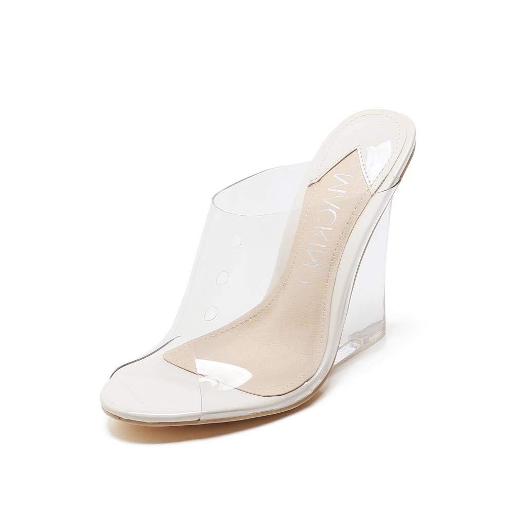 MACKIN J 405-1 Women's Lucite Clear Wedge Heel Sandals Open Toe Slip On Mule Dress Shoes