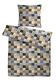 Seersucker Bettwäsche-Set 'Patchwork-Muster' 155 x 220 cm Blau, Bettdecke und Kopfkissen-Bezug aus...