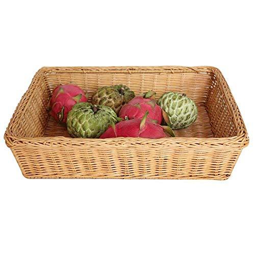 WEM Support de rangement imitation rotin corbeille de fruits en rotin Corbeille à pain supermarché snack Panier de rangement en plastique légumes boîte rectangulaire Fruit Basket,Moyen,Moyen