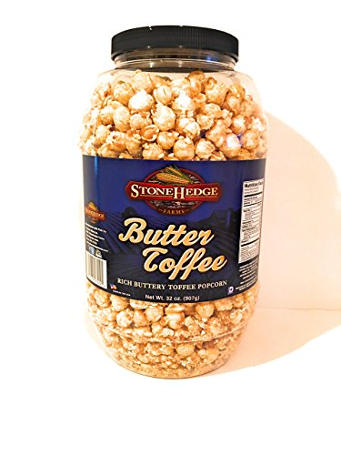 StoneHedge Farms Butter Toffee (Rich Buttery Toffee Popcorn 32 Oz.) Tall Tub Jar!!!!!!!!!