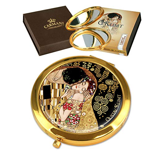 CARMANI - Plaqué Or Bronze poche, compact, Voyage, Miroir décoré avec de la peinture de Klimt 'Le baiser'
