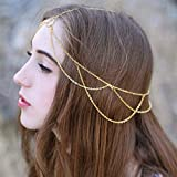 Outyua Layered Head Chain Gold Circle Tassel Hair Chain Wedding Prom Bridal Headpices Head Jewelry Accessories for Women and Girls