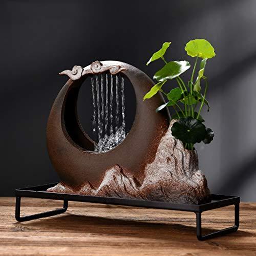 """Desktop-Wasserfall Tischbrunnen mit Wassernebel, Keramik dekorativen Brunnen Luftbefeuchter geeignet for Indoor-Desktop 13"""" x 5,9"""" x 10,2"""" Innenbrunnen"""