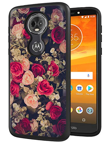 ANLI Moto E5 Plus Case, Moto E5 Supra Case, [Fashion Flowers Design] Drop Protection Hybrid Dual Layer Armor Protective Case Cover for Girls and Women 2018 Release (Flowers)
