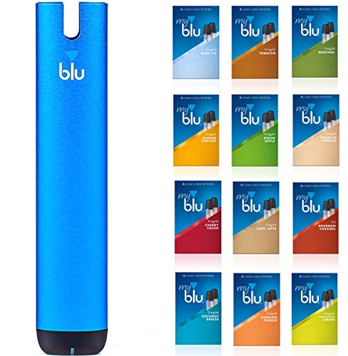 Starter Set mit E-Zigarette Vape Device myblu Blau + 2 Doppelsets Liquids