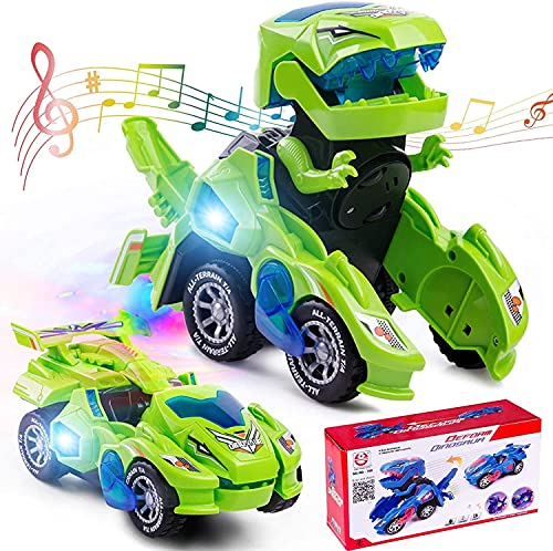 siyushop Dinosaurios Toys Coche Transformación del Dinosaurio LED Deformación del Automóvil Robot De Coche Juguetes para Niños ( Color : Green )