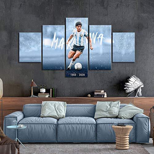 Gtart Componibili Quadri Moderni Camera da Letto Stampa Quadro su Tela 5 Pezzi Quadri Soggiorno Grandi Arte Muraria Posterego Maradona Poster Famosa Stella Calcio Argentina Maradona Stampe Artistiche