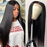 4x4 Lace Front Wigs Straight Hair Brazilian Virgin Human Hair Lace closure wigs for Black Women 150% Density Pre Plucked With Baby Hair Natural Color 14 inch