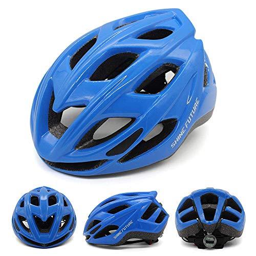 Casco da bici per adulti, casco da bici leggero Casco da bici con luce LED Casco da bici MTB leggero certificato CE CPSC Taglia regolabile (Blu)