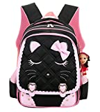 Cat Face Waterproof Girls Backpack Kids School Bookbag for Primary Students Black