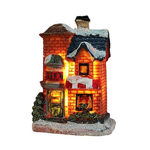 Stecto Weihnachtshaus beleuchtet, LED Weihnachtliches Dorf, Harz Weihnachtsdekoration Schneehaus, Leuchten Dekoration LED Lichter für Weihnachtsgeschenke