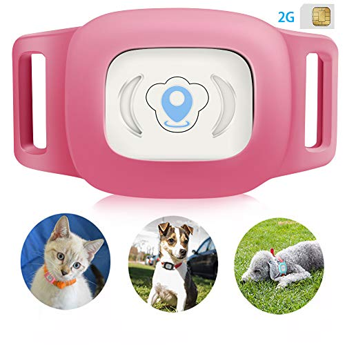 BARTUN GPS Pet Tracker, Cat Dog Tracking Device with Unlimited Range(Pink)