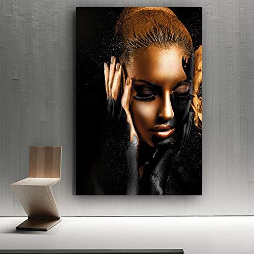 Decorazione da Parete con Arte Nera Stampa su Tela Donna Nera Africana Pittura murale Pittura Astratta su Tela per pareti e Decorazioni per la casa