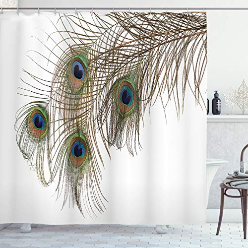 """Ambesonne Peacock Shower Curtain, Feather of Peacock Power Rising Out of Theshes Creature, Cloth Fabric Bathroom Decor Set with Hooks, 70"""" Long, White Green"""