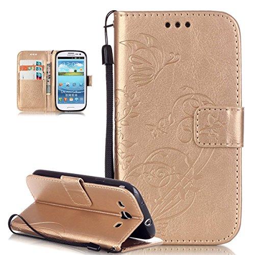 Custodia Galaxy S3 Neo,Custodia Galaxy S3,Custodia Galaxy S3 Neo / S3, Galaxy S3 Neo Cover, ikasus Galaxy S3 Neo / S3 Custodia Cover [PU Leather] [Shock-Absorption] Protettiva Portafoglio Cover Custodia Goffratura Vines Fiore Farfalle con Super Sottile TPU Interno Case e Porta carte di credito Custodia Cover per Samsung Galaxy S3 III i9300 / Galaxy S3 S III Neo Gt-i9301i i930 ,Cover Galaxy S3 Neo,Cover Galaxy S3 - D'oro