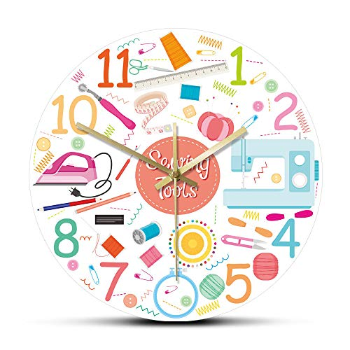 Kit de Costura Herramientas de Trabajo Conjunto de Iconos Acrílico Impreso Reloj de Pared Tejer Costura Máquina de Coser Reloj de Pared Sastrería Decoración de tienda-15 Pulgadas