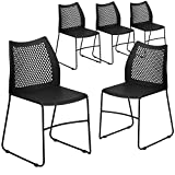 Flash Furniture 5 Pack HERCULES Series 661 lb. Capacity Black Stack Chair with Air-Vent Ba...