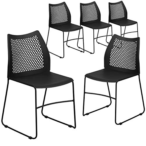 Flash Furniture 5 Pack HERCULES Series 661 lb. Capacity Black Stack Chair with Air-Vent Back and Black Powder Coated Sled Base