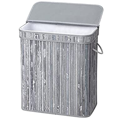 SONGMICS Folding Laundry Basket with Lid Handles and Removable Liner Bamboo Hampers Dirty Clothes Bin Box Storage Rectangular Distressed Gray ULCB63GW
