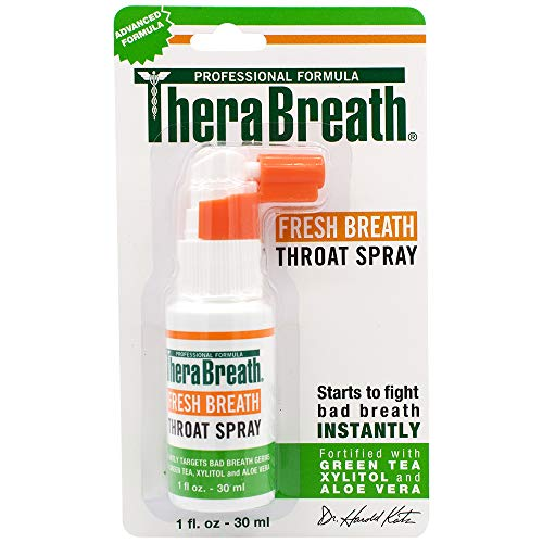 TheraBreath Spray Dentist Formulated, Maximum Strength Extinguisher Spray, Stops Halitosis, Certified GlutenFree, Approved for Diabetics, OnePack, Fresh, 1 Fl Oz