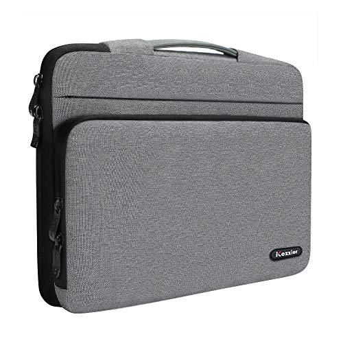 iCozzier 15-15.6 Inch Large Capacity Side Pocket Laptop Sleeve Case Protective Storage Bag for 15' MacBook Air/MacBook Pro/Notebook-Grey