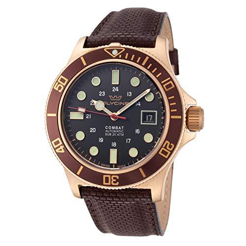 Glycine Combat Herren Uhr analog Automatik mit Leder Armband GL0188
